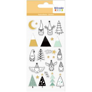 24 Christmas puffies stickers - elves...