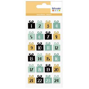 24 autocollants puffies de Noël -...