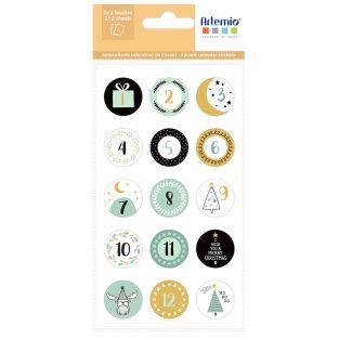 30 round advent calendar stickers