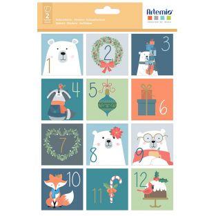 24 stickers carrés calendrier de...