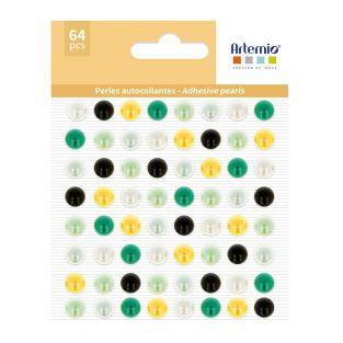 64 perles adhésives jaune-verte