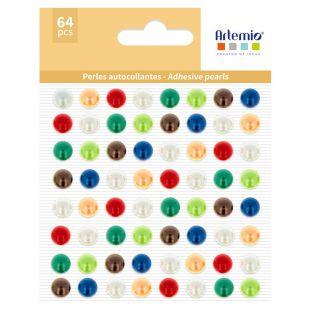 64 perles adhésives multicolores
