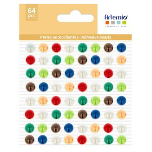 64 perline adesive multicolori
