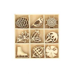27 mini decorazioni in legno - inverno