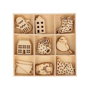 27 mini decorazioni in legno -...