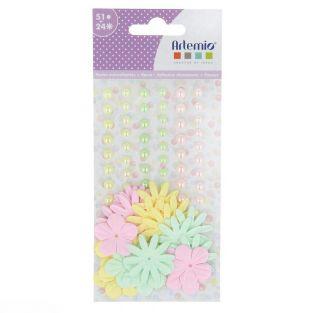 51 Klebeperlen und 24 Papierblumen