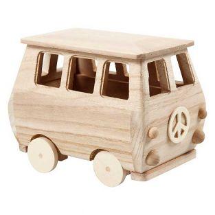Minifurgoneta de madera - 17 x 13 cm