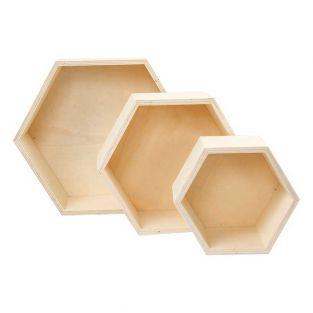3 wooden shelves, hexagonal
