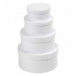 4 cajas redondas de cartón blanco de...