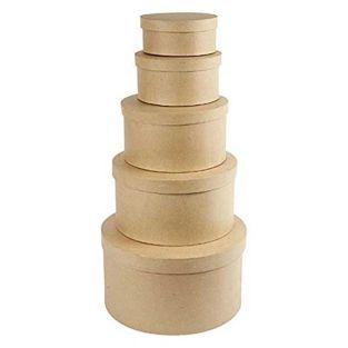 5 boîtes gigognes rondes en carton 9...