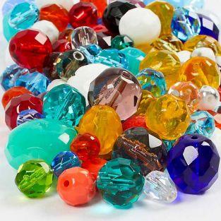 450 farbige Facettenperlen - 3 bis 15 mm