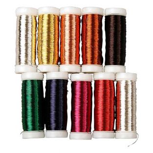 9 colored metallic threads for floral...