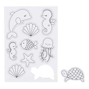 9 magnets blancs à décorer - Monde marin