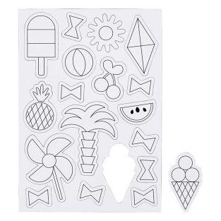 18 magnets blancs à décorer - Eté