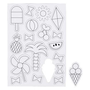 18 white magnets to decorate - Summer
