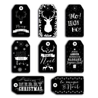 Perforated Christmas Labels - Slate