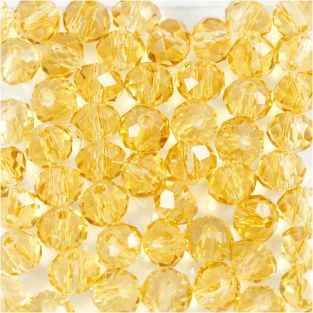 45 runde Facettenperlen Ø 4 mm - gelb