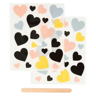 2 sheets of decals hearts 12 x 15 cm