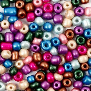 Perles rocaille couleurs métalliques...
