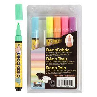 6 feutres textile fluo Glitter Deco -...