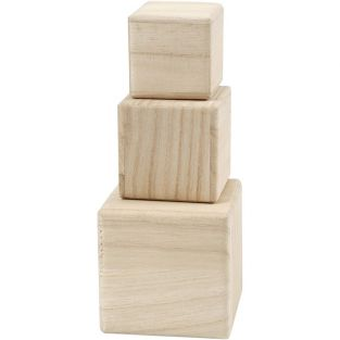 3 bloques de madera - 5 / 6 / 8 cm