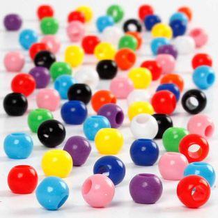 600 round multicolor pony beads Ø 6 mm