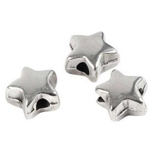 3 metal beads, star, 5 mm - Silver