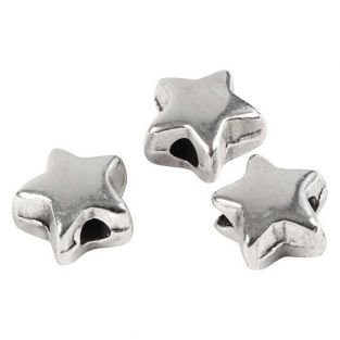 3 perles métalliques étoile 5 mm -...