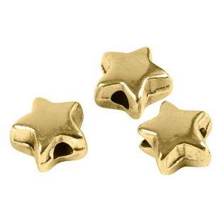 3 perline di metallo stella, 5 mm - oro