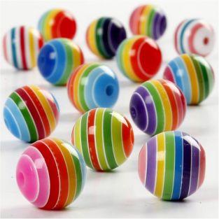 50 resin beads, striped, Ø 12 mm -...