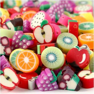 200 clay beads, 10 mm - Fruit