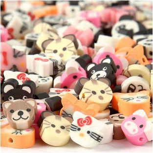 200 clay beads, 10 mm - Cute animals