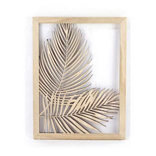 Openwork wooden frame Areca plant -...