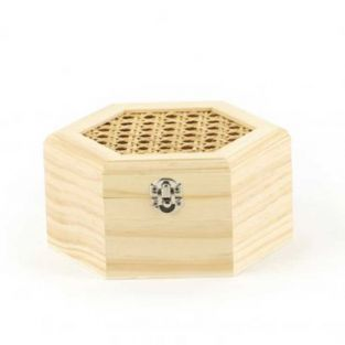 Hexagonal wooden box with cane lid -...