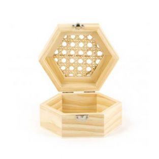 Boite en bois hexagonale et couvercle...