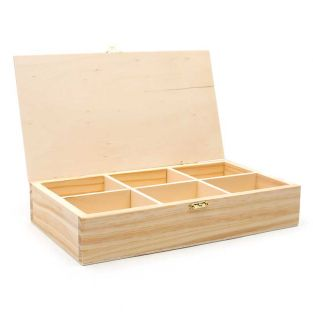 Wooden tea box, 6 compartments, to...