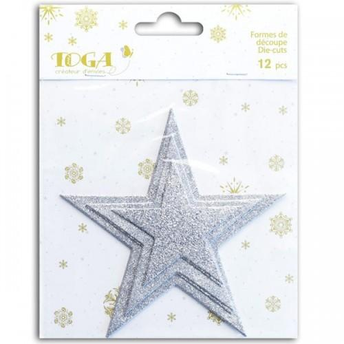 Cut shapes sequined Stars - silver