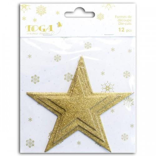 Shapes cut sequined Stars - golden