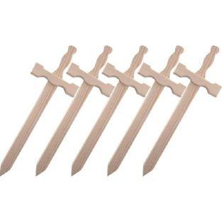 5 épées en bois 39 x 13 cm