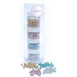 4 pots de perles en sucre nacrées -...