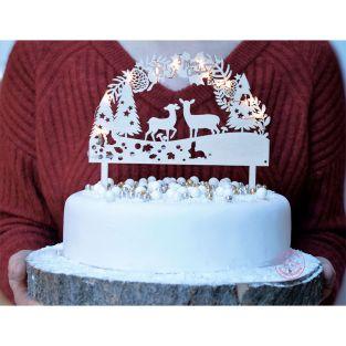 Cake topper bois avec LED Forêt...