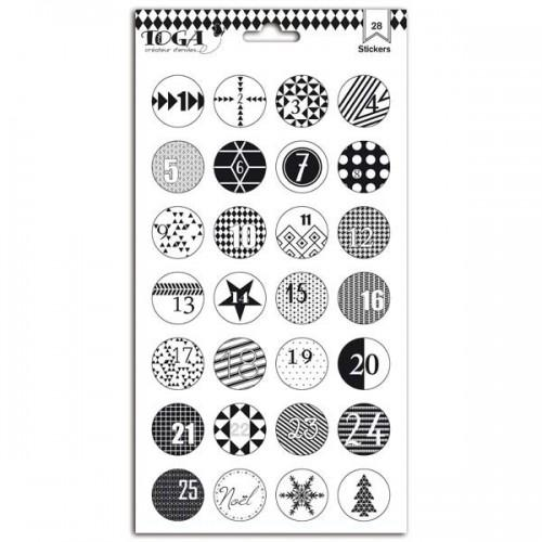 Stickers Christmas Advent Calendar - Black & White