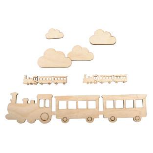 Small wooden train 21.7 x 4.8 cm