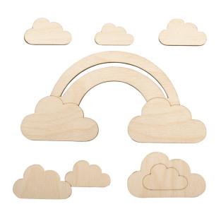 Arc en ciel et nuages en bois 16,8 x...