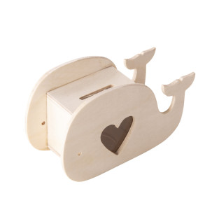 Whale wooden piggy bank to customize