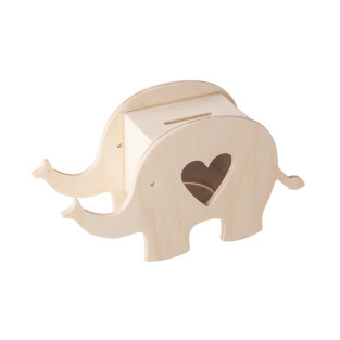 Elephant wooden piggy bank to customize