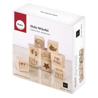 9 cubes en bois à personnaliser 4,5 x...