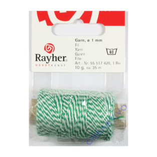Ficelle bicolore vert et blanc 35 mm...