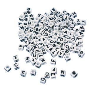 Alphabet beads square white 5 x 5 mm