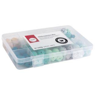 Caja de perlas de silicona - Verde menta
